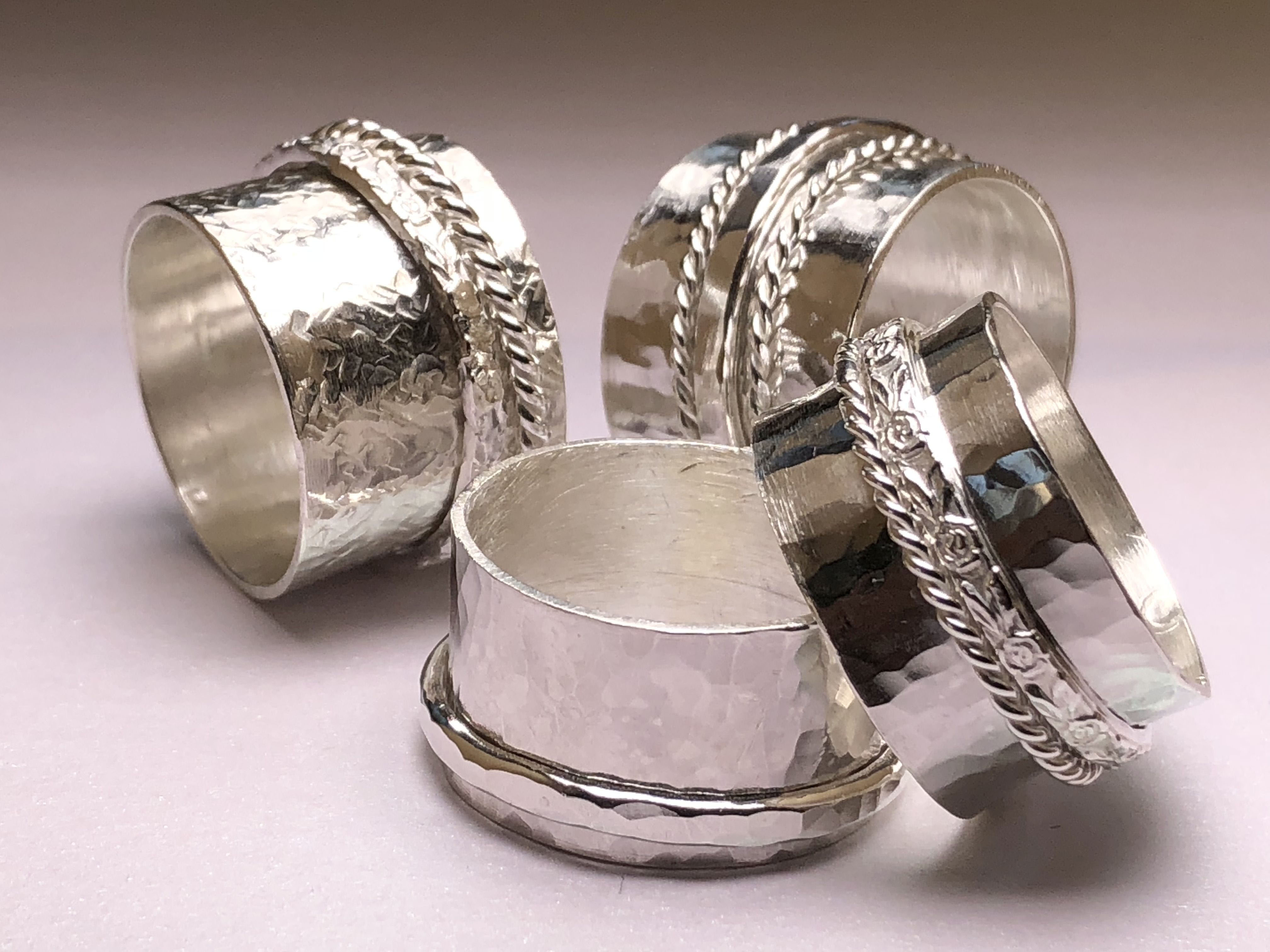 Sterling silver spinner rings made to or