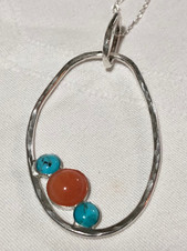 Pendant with turquoise and aventurine.jp