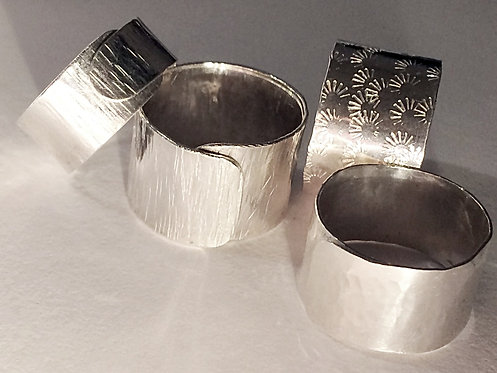 Sterling silver textured wrap rings - priced from $55