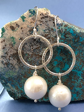 Textured sterling silver and freshwater pearl earrings