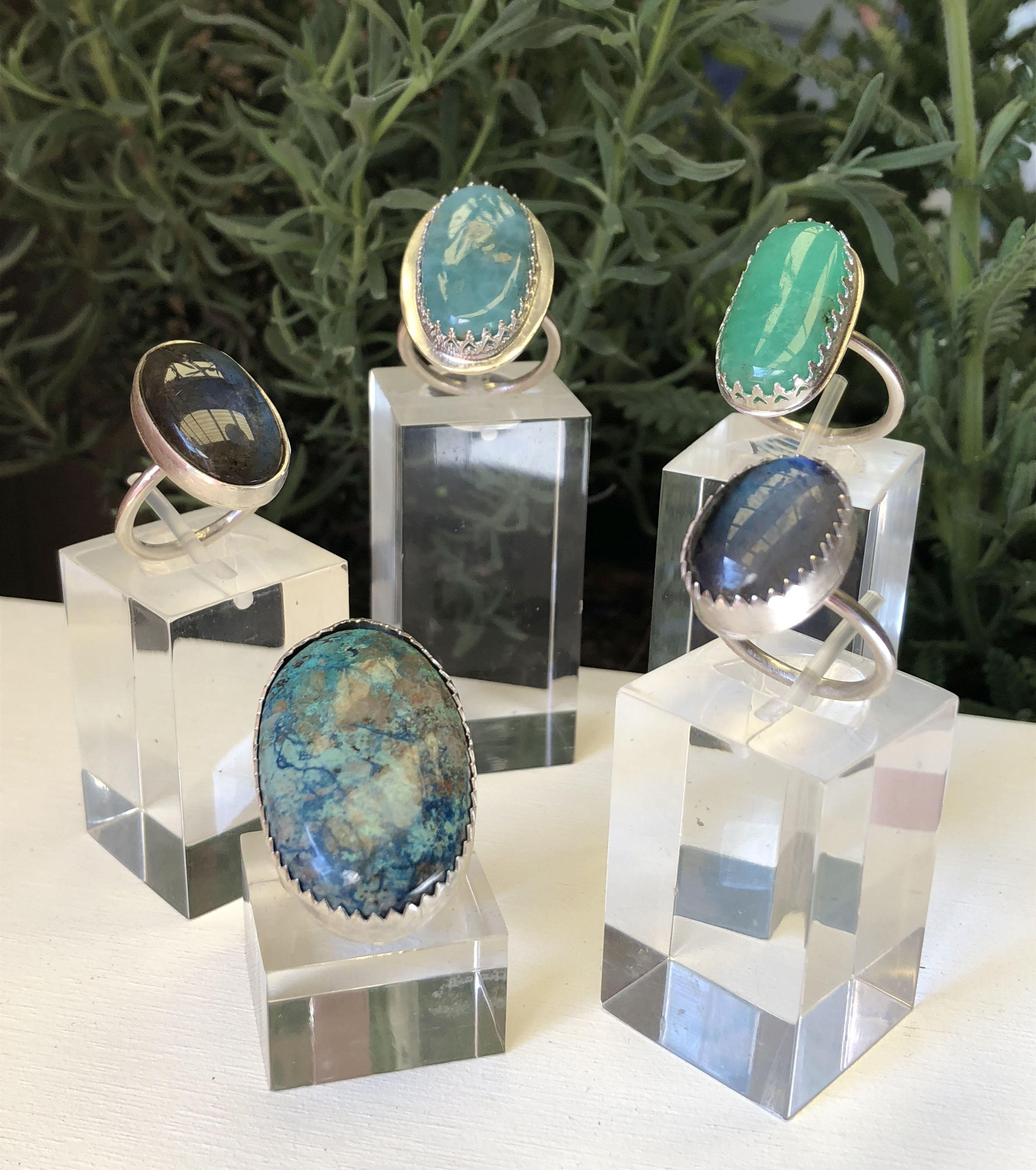 Silver & gem stone rings