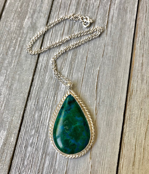 chrysocolla and silver pendant.JPG