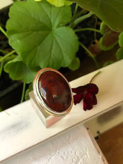 Red Moss Agate Ring