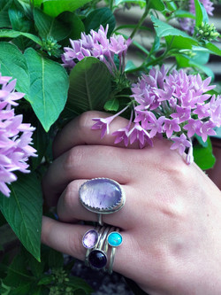 stacker rings and amethyst ring
