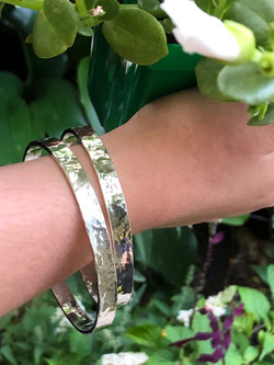 Thick silver textured bangles