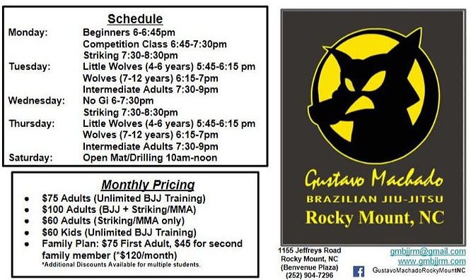 BJJ & Striking Hours & Prices May 2019.J