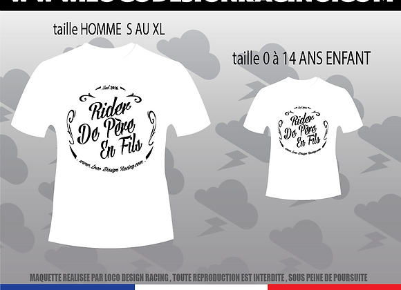"PACK 2 Tee-Shirt "" Rider de Père en Fils """