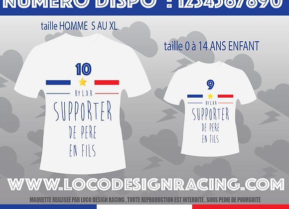 "PACK 2 Tee-Shirt "" Supporter de Père en Fils """