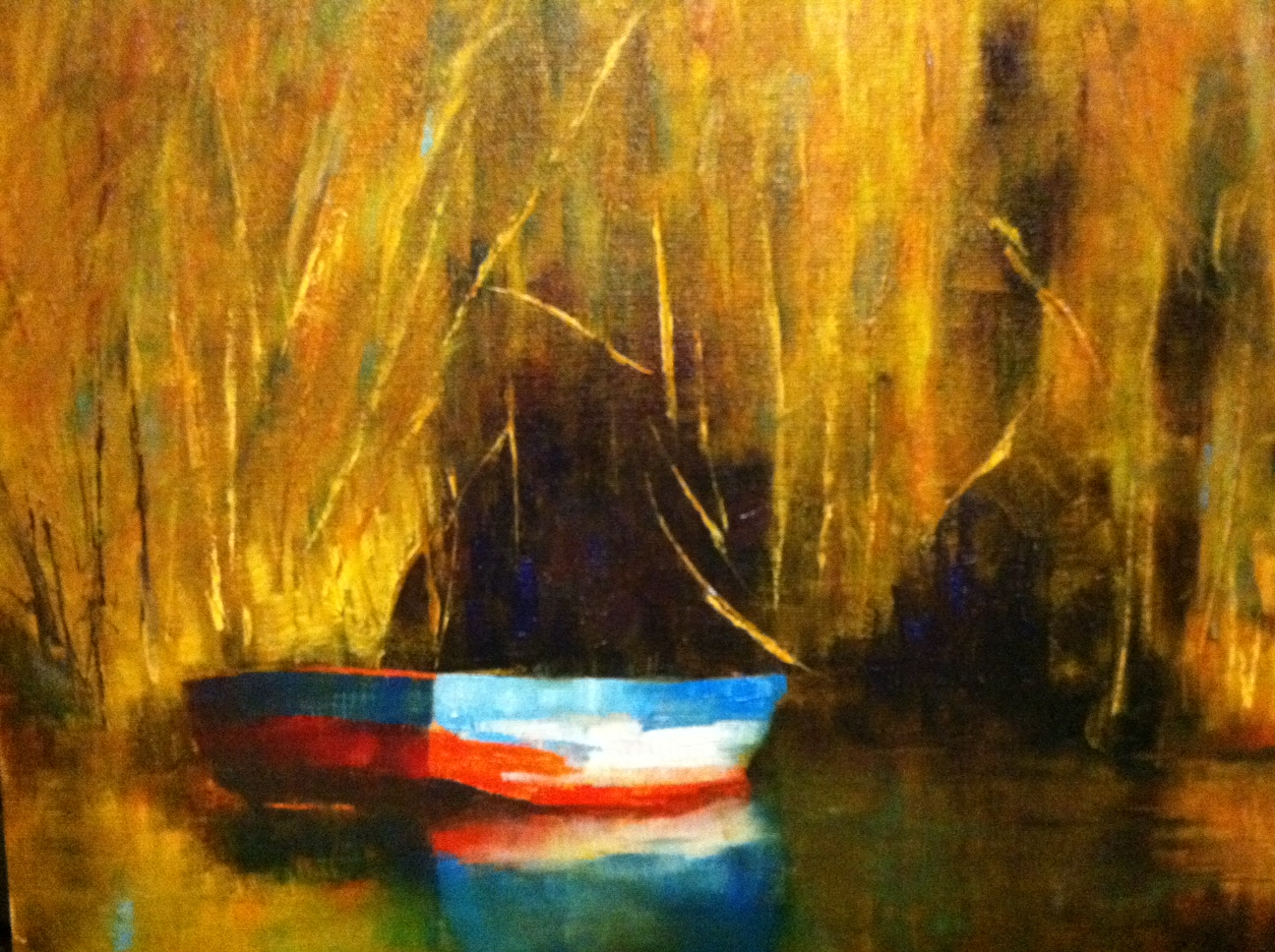 Boats in Reeds, Oil on linen, 12X16