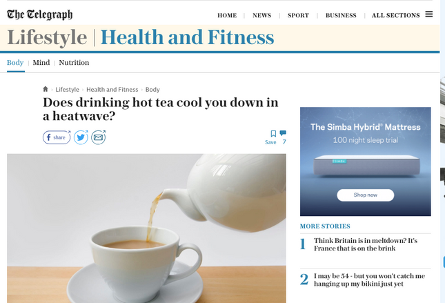 From the Telegraph: does drinking hot tea cool you down?