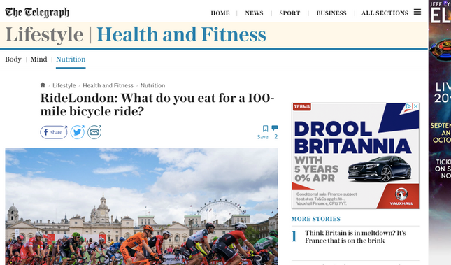 From the Telegraph: What do you eat for a 100-mile bicycle ride?