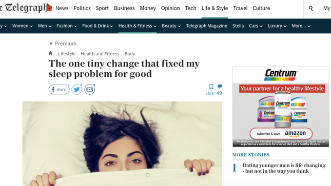 How I fixed my sleep pattern - from the Telegraph