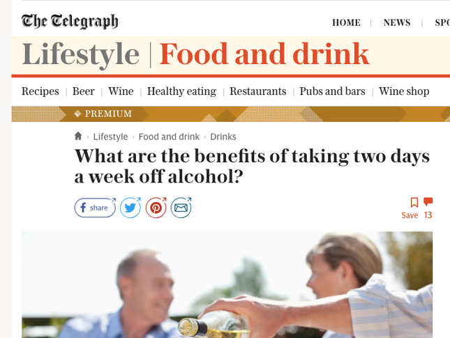 From the Telegraph: What are the benefits of taking two days a week off alcohol?