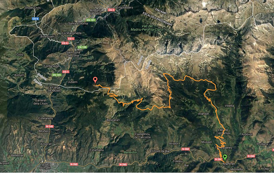 4x4 route from Martinet to la Rabassa