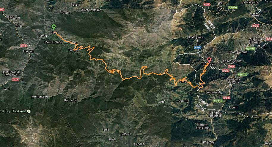 4x4 route from Tirvia to Bixessarri