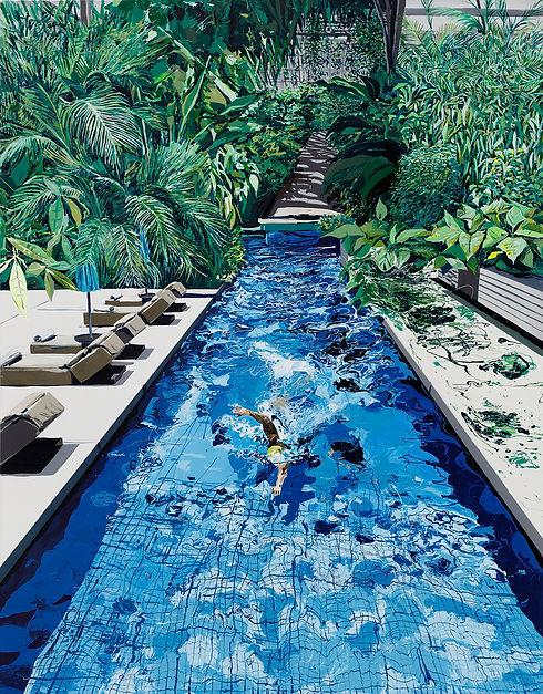 Pool with Garden, enamel and acrylic on