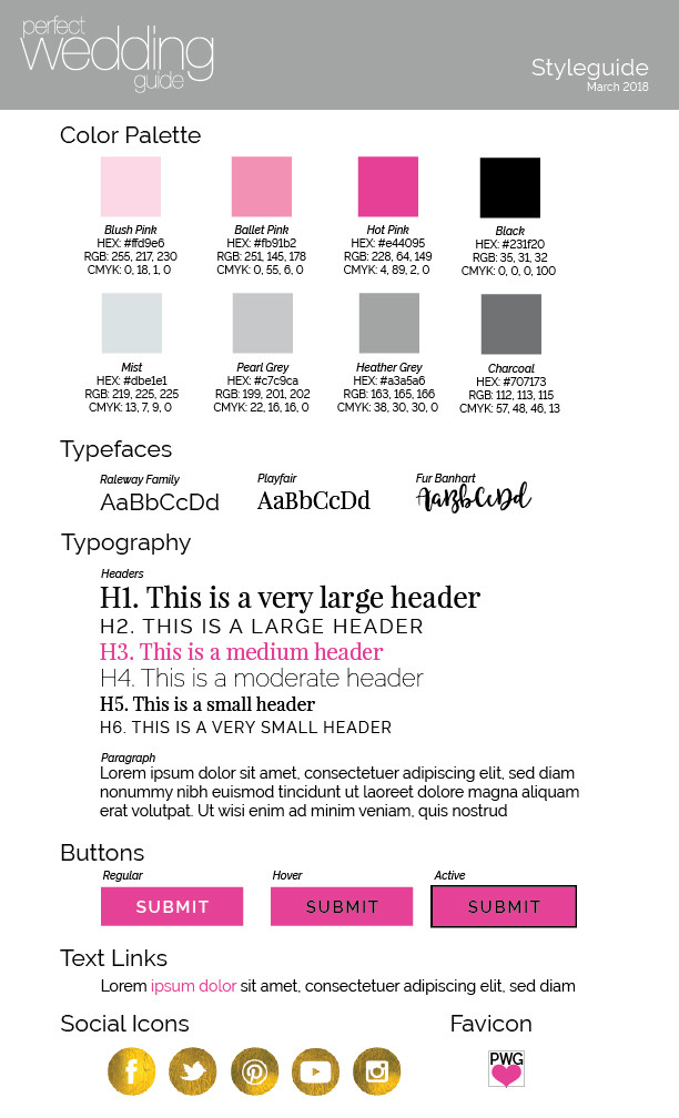 Perfect Wedding Guide Style Guide