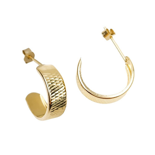 13.5mm | 9ct Stud Hoop Earrings 'Marilyn'