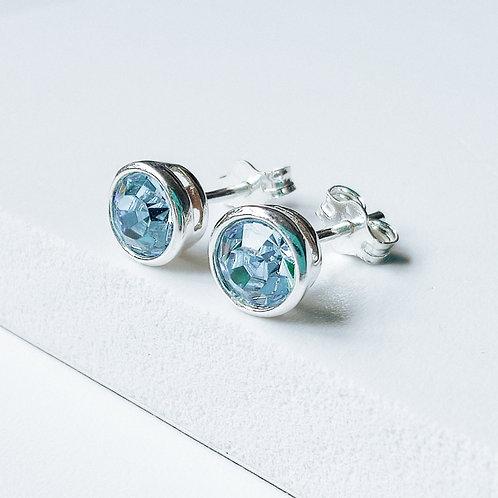 Silver Stud Earrings 'Adele' Baby Blue