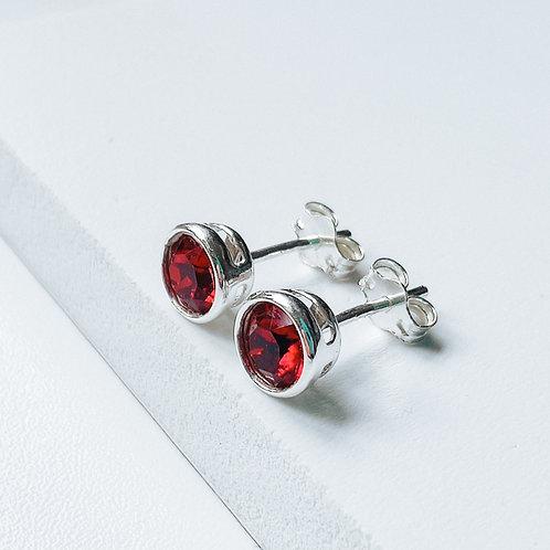 Silver Stud Earrings 'Adele' Red