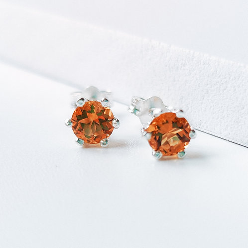 Silver Stud Earrings with Citrine (Yellow)