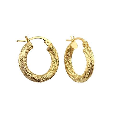16mm | 9ct Twisted Gold Hoop Earrings 'Iveta'
