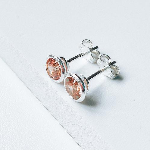 Silver Stud Earrings Peach