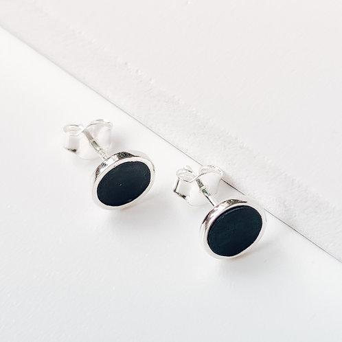 Onyx Silver Stud Earrings 'Victoria'