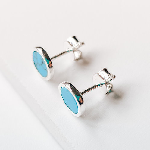 Turquoise Silver Stud Earrings 'Victoria'