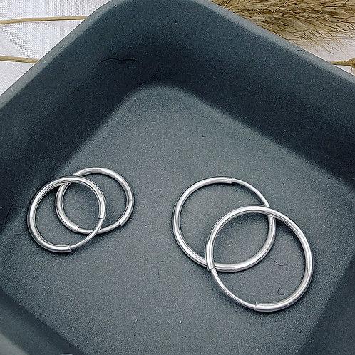 12mm | Classic Silver Hoop Earrings 'Elizabeth'