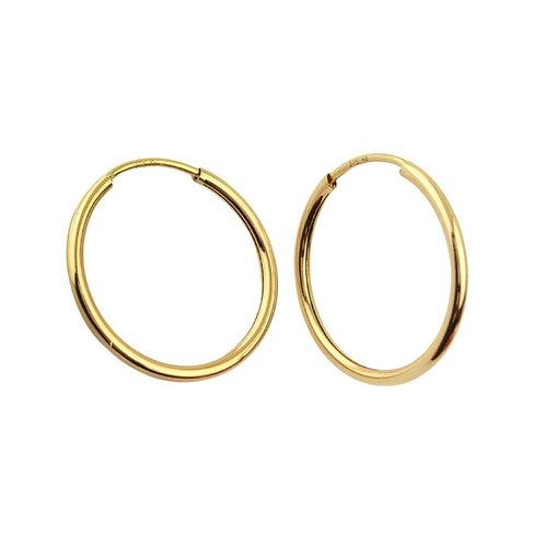 20mm   9ct Classic Gold Hoop Earrings 'Coco'