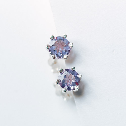 Silver Stud Earrings with Amethyst (purple)