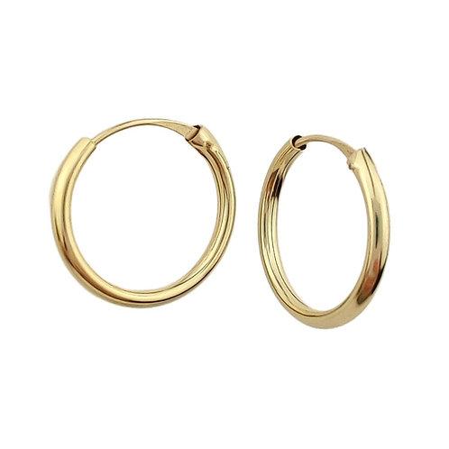 14mm | 9ct Classic Hoop Earrings 'Ayla'