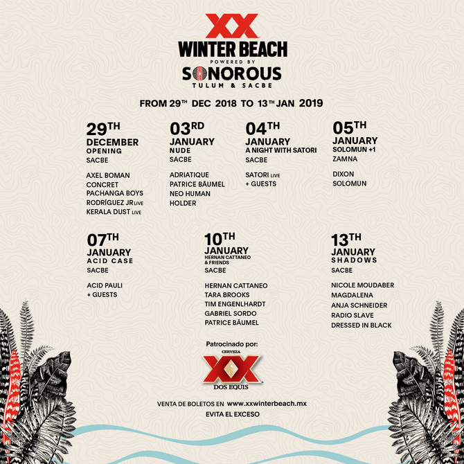 Dos Equis® Winter Beach powered by Sonorous en la Riviera Maya.