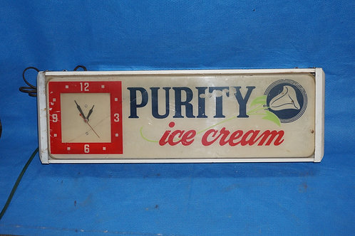 Advertising Purity Ice Cream Clock