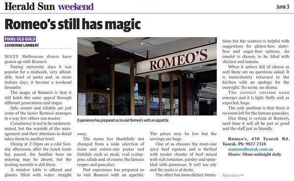 Romeo's Newspaper Article