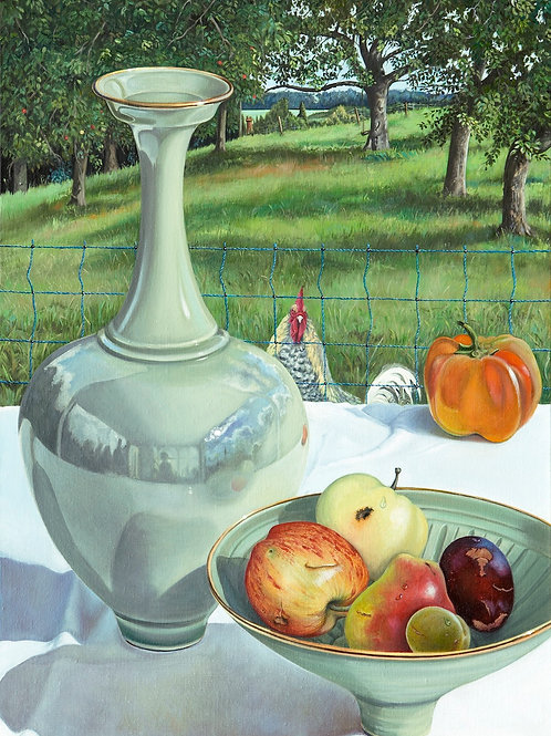 """""""Bridget's Pots and Wilfred""""  Oil on Linen"""