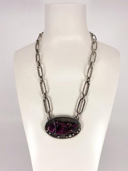 ref-KAJMN 77  Carved rubilite fish necklace