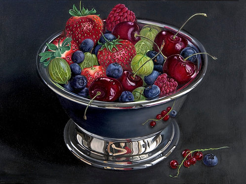 Berries in Silver Bowl -    SOLD