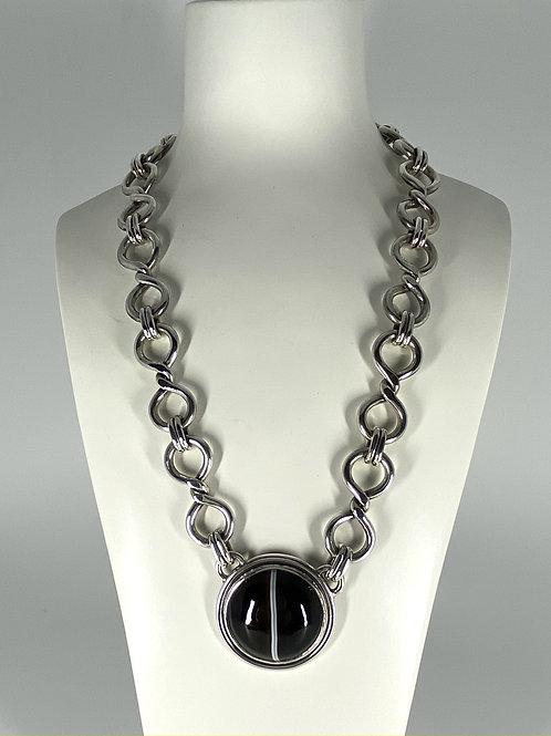 ref KAJMN 65  Banded Agate Necklace