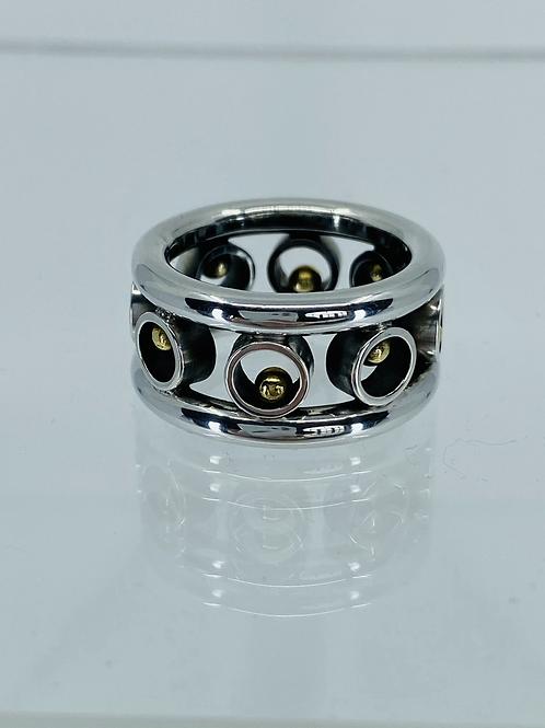 KAJMR 72  silver and 18ct ring