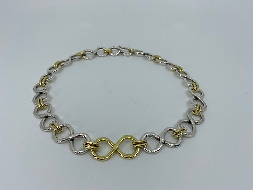 ref-KAJMN80  18 ct Gold and Silver handmade chain