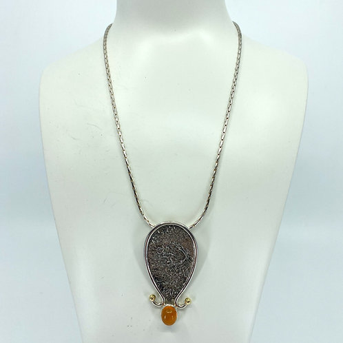 ref- KAJMN 70 Reticulated silver and Fire Opal