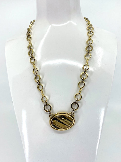 ref KAJMN 53  Gold and Rutilated Quartz necklace