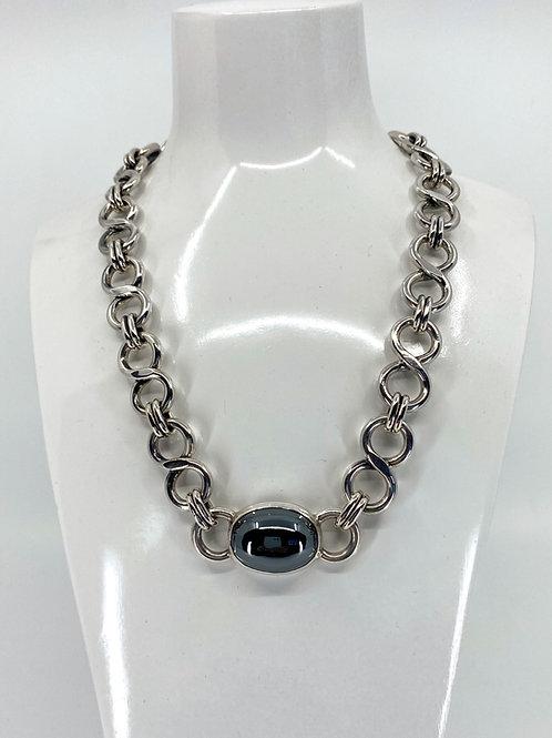 ref KAJMN 56  Hematite cabochon necklace