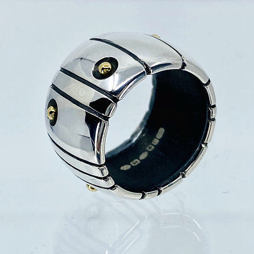 ref-KAJMR 62  Wide Silver and gold ball ring