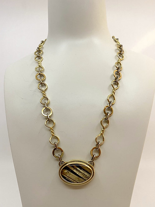 ref no. KAJMN 53    Rutilated Quartz and 18ct gold necklace