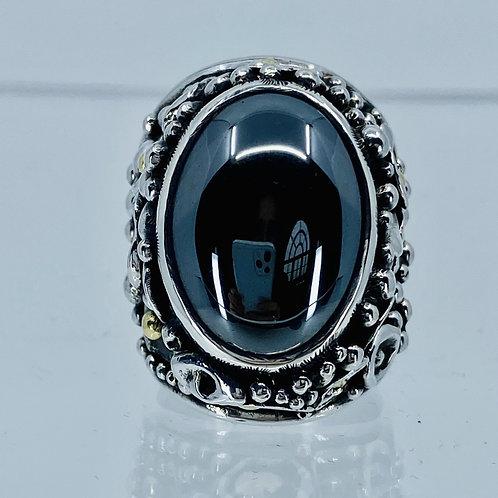 ref-KAMJR 48   Large hematite cabochon ring