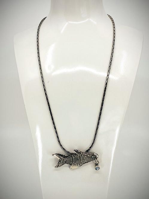 ref- KAJMN 79  Fish and Moonstone pendant and chain