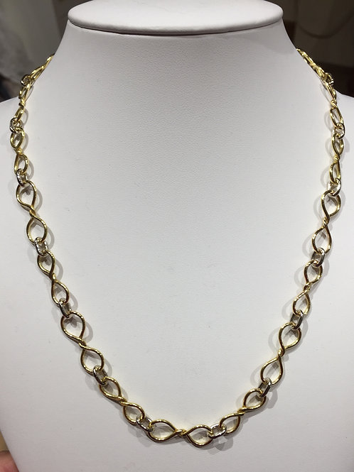 ref KAJMN 54  Red and White 18ct Gold Chain